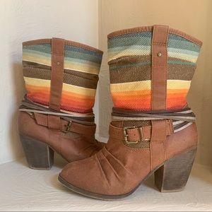 Boho Southwestern Brown Heeled Boots